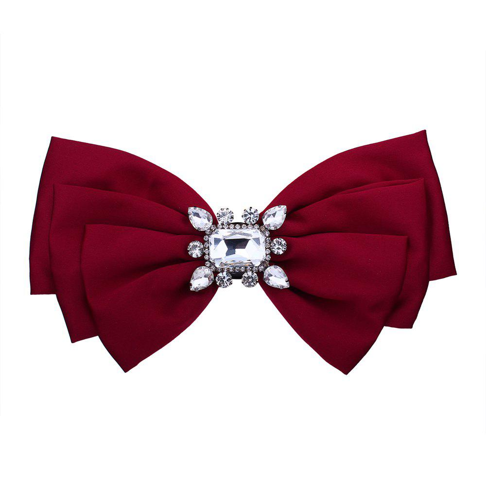 Bow Style Tie Rhinestone Brooch - RED