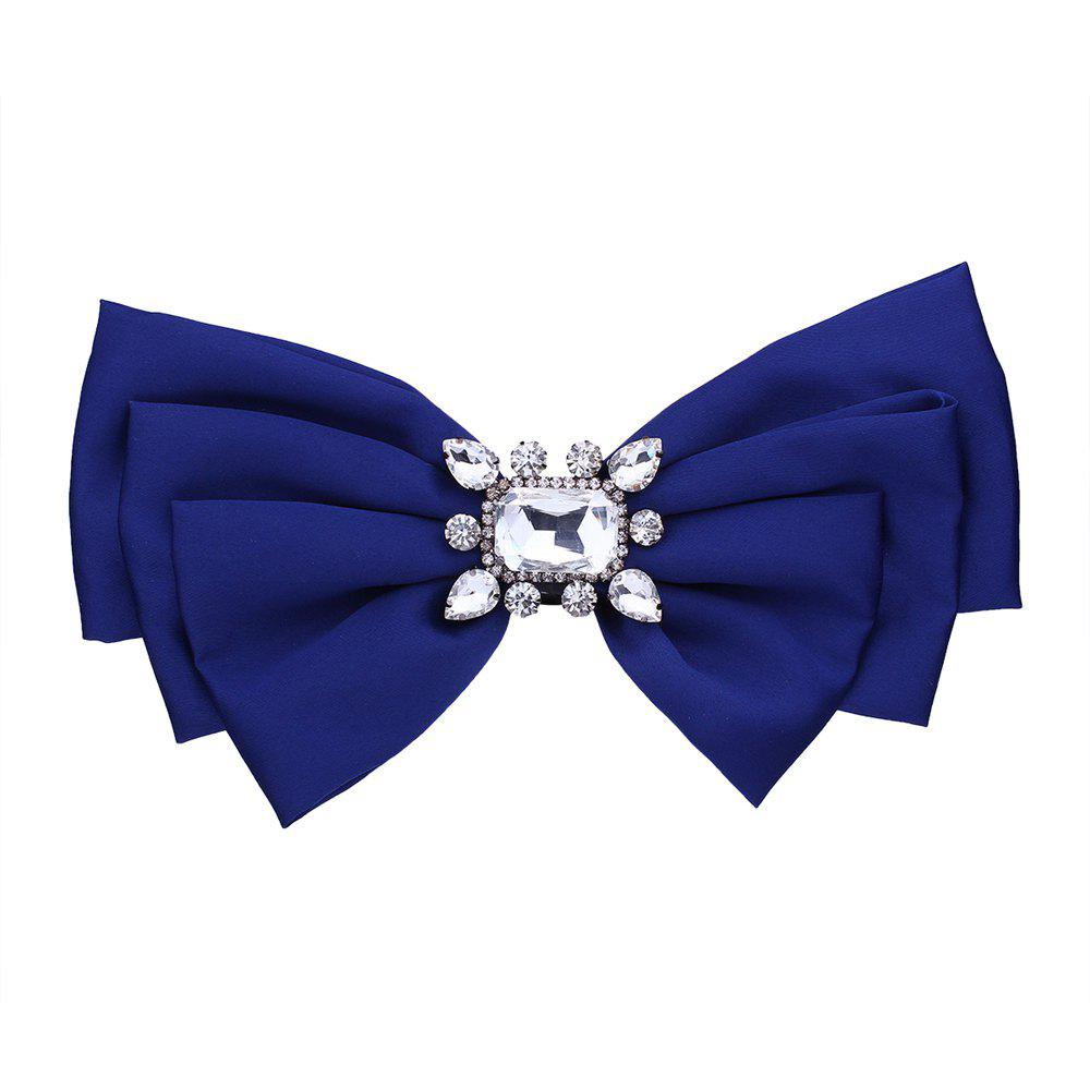 Bow Style Tie Rhinestone Brooch - ROYAL