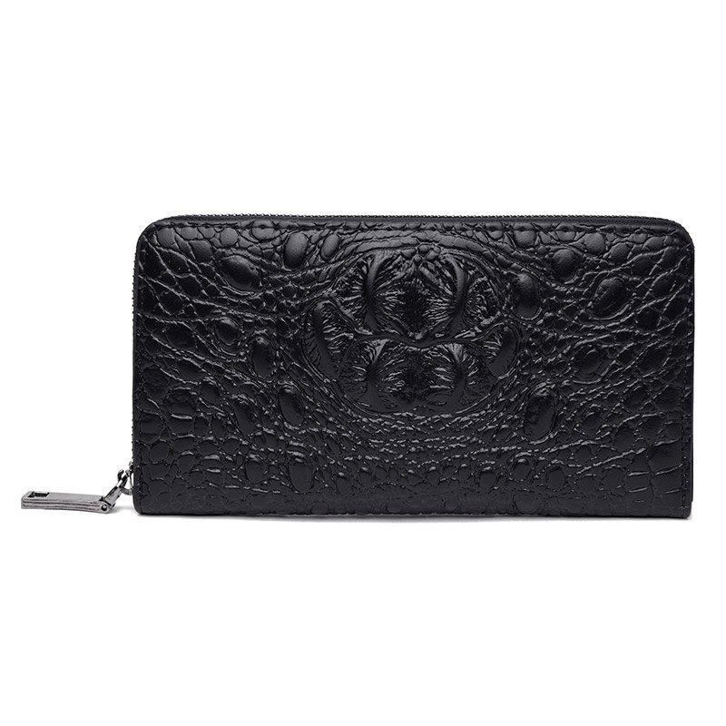 Crocodile Pattern Long Wallet Clutch Bag - BLACK