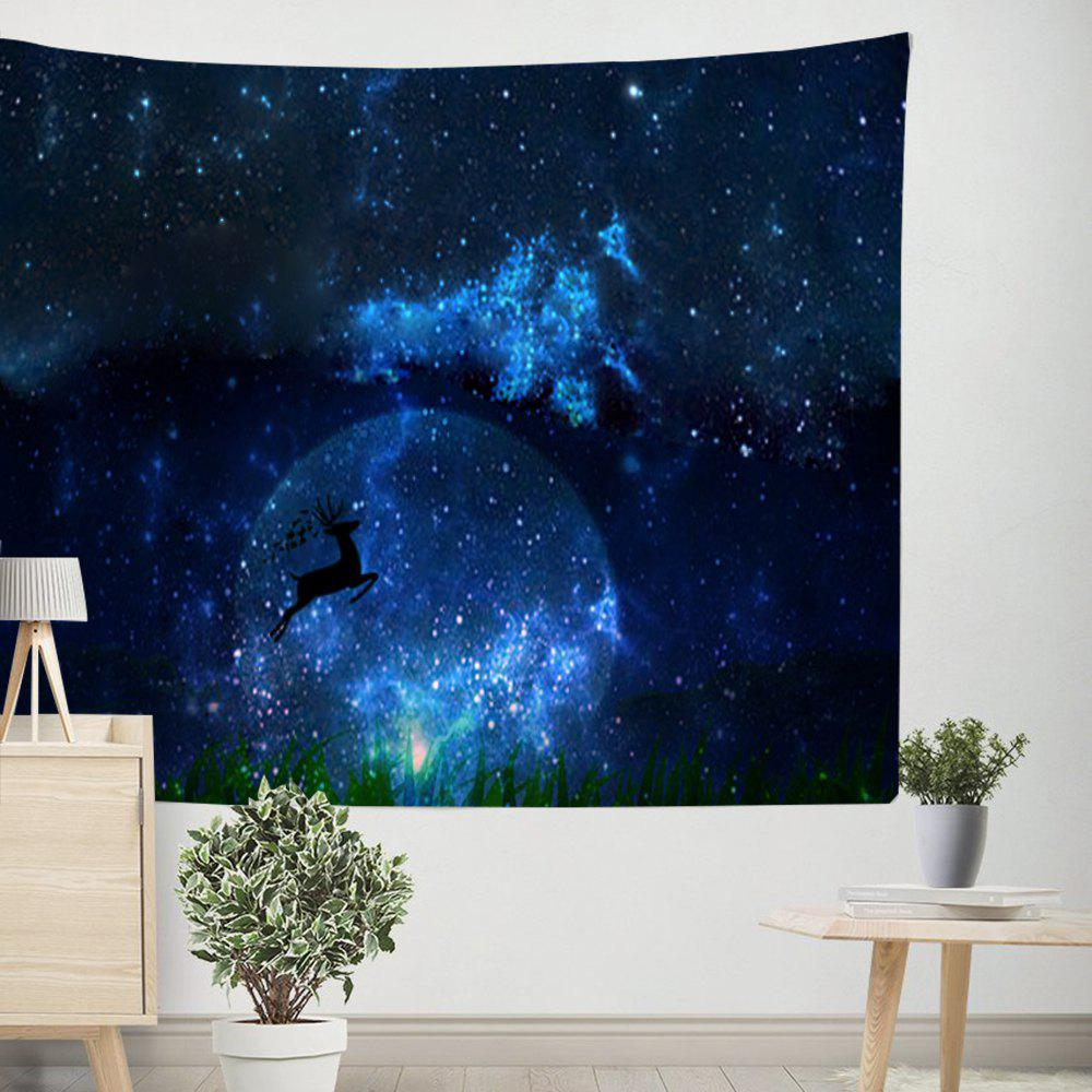 Deer Under the Starry Sky Tapestry Wall Hanging  Adorn Sofa Blanket Tablecloth Bedspread - COLORMIX W39.4INCH*L59.1INCH
