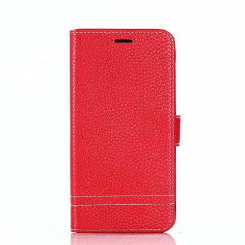 Cover Case for Moto G5 Plus Lychee Striped Back Button Leather - RED