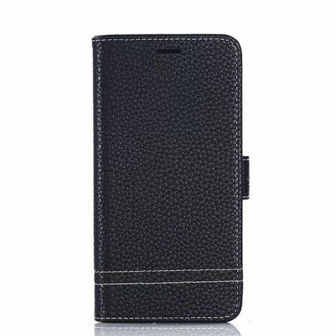 Cover Case for Moto G5 Plus Lychee Striped Back Button Leather - BLACK