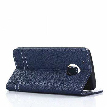 Cover Case for Moto G5 Plus Lychee Striped Back Button Leather - BLUE