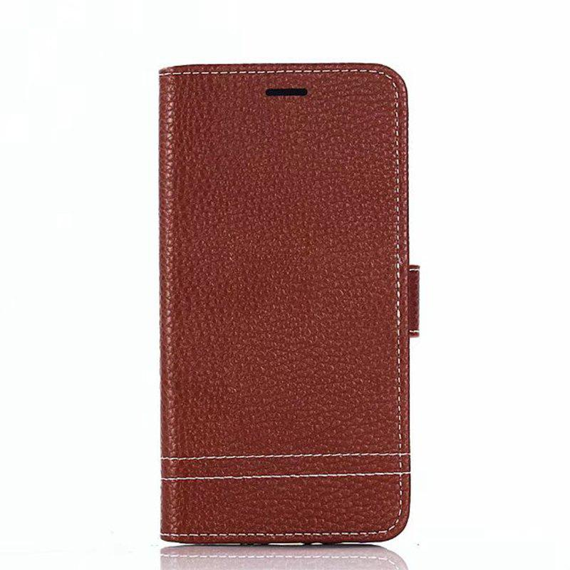 Cover Case for Moto G5 Plus Lychee Striped Back Button Leather - LIGHT BROWN