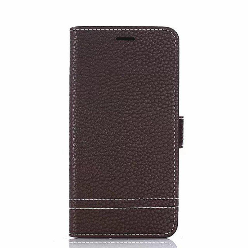 Cover Case for Moto G5 Plus Lychee Striped Back Button Leather - DEEP BROWN