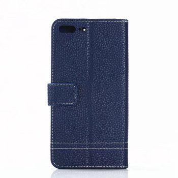Cover Case for OnePlus 5 Lychee Striped Back Button Leather - BLUE