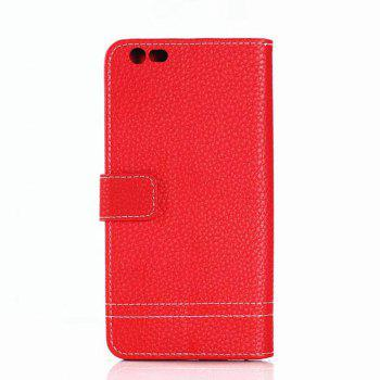 Cover Case for OnePlus 5 Lychee Striped Back Button Leather - RED
