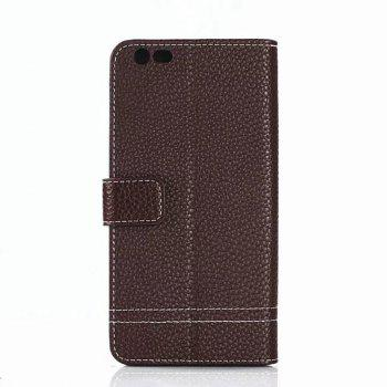Cover Case for OnePlus 5 Lychee Striped Back Button Leather - DEEP BROWN