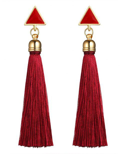 National Wind Long Fashionable Tassel Earrings - RED