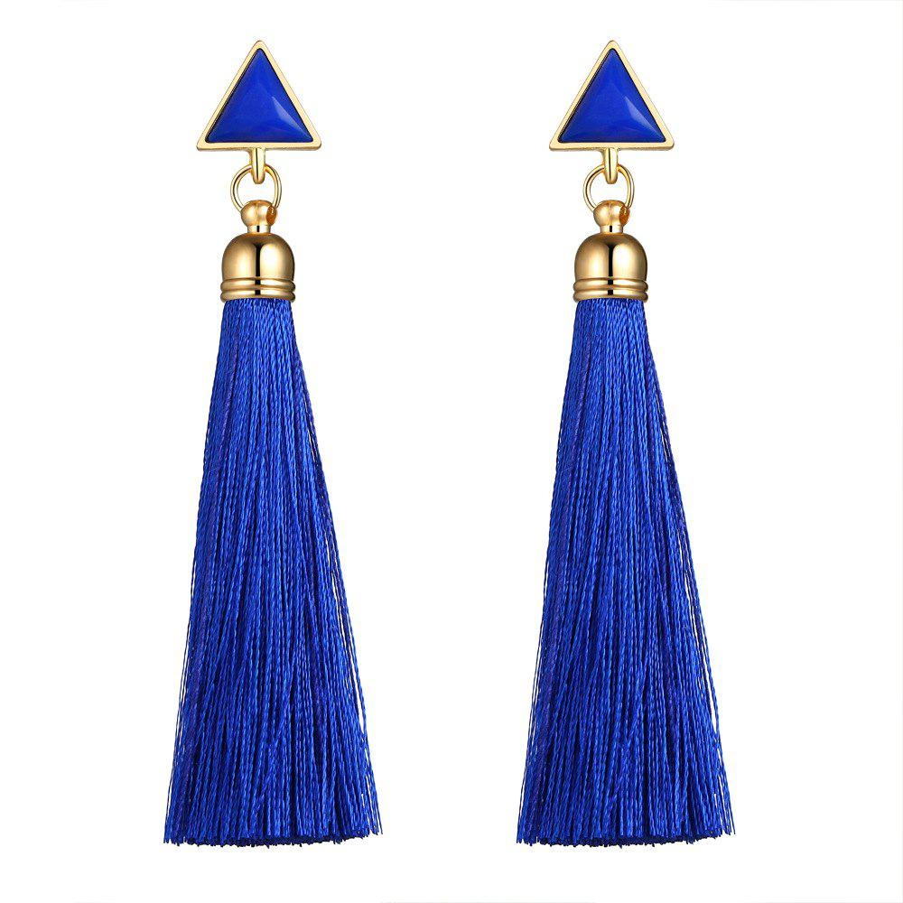 National Wind Long Fashionable Tassel Earrings - BLUE