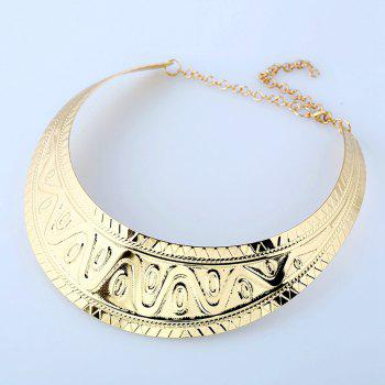 Women's Girls Metal Fashion Choker Carved Necklace Collar Fine Jewelry - GOLDEN