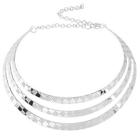 Women's Girls Layer Choker Carved Necklace Collar Fine Jewelry - SILVER