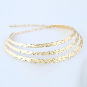 Women's Girls Layer Choker Carved Necklace Collar Fine Jewelry - GOLDEN