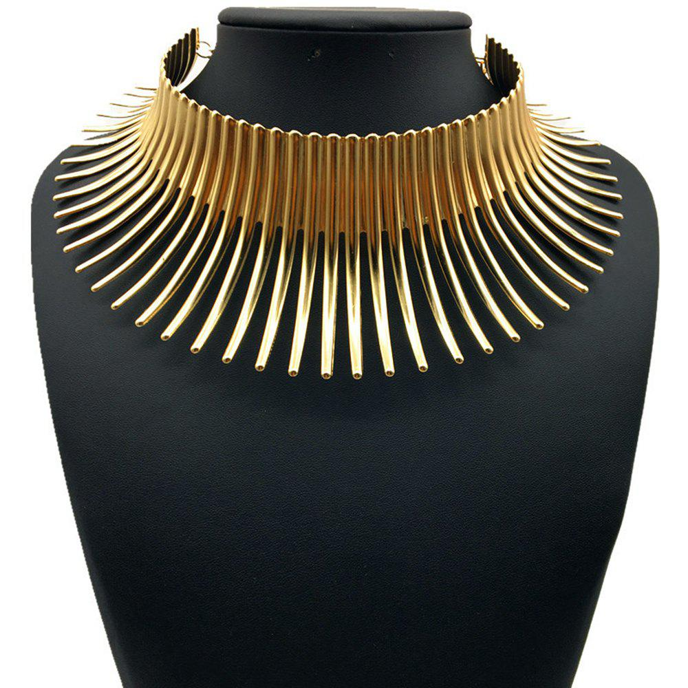 Women's Girls Trendy Jewelry Punk Metal Choker Necklace Collar - GOLDEN