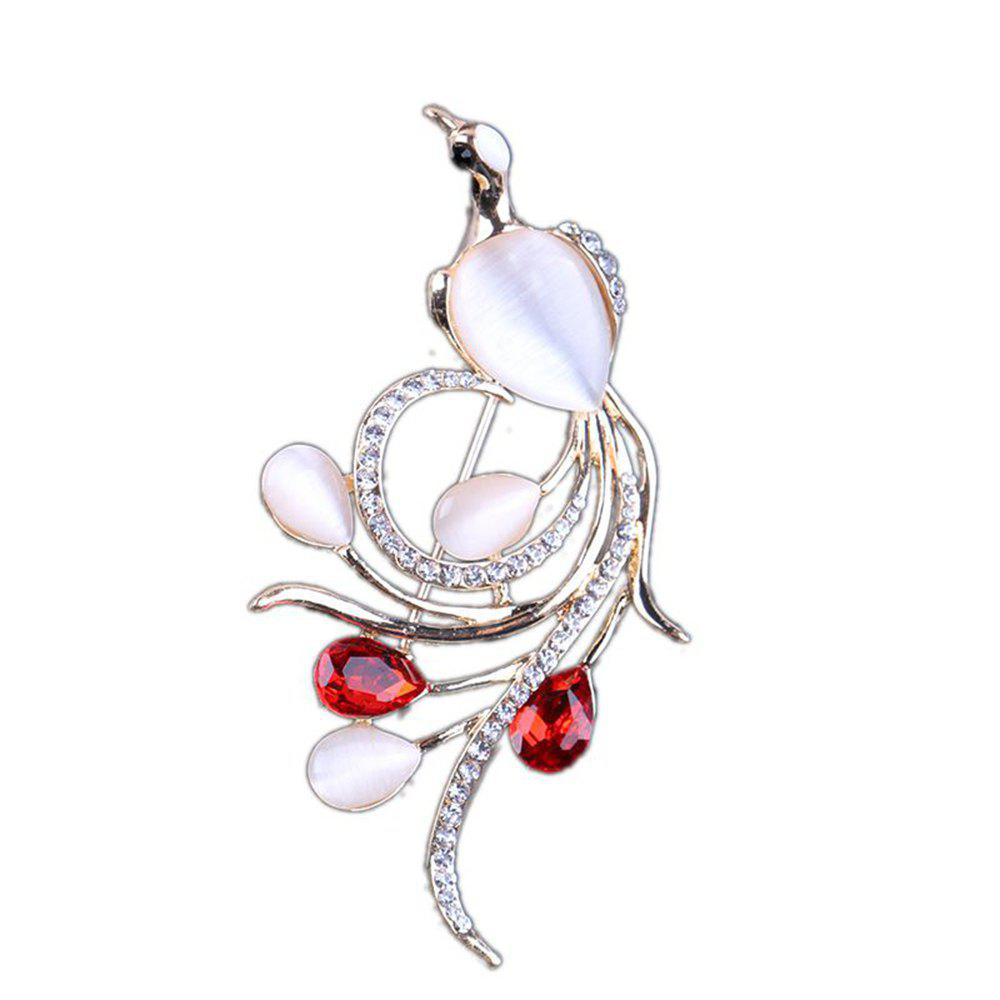 Women's Girls Fine Jewelry Diamond Peacock Brooch - RED