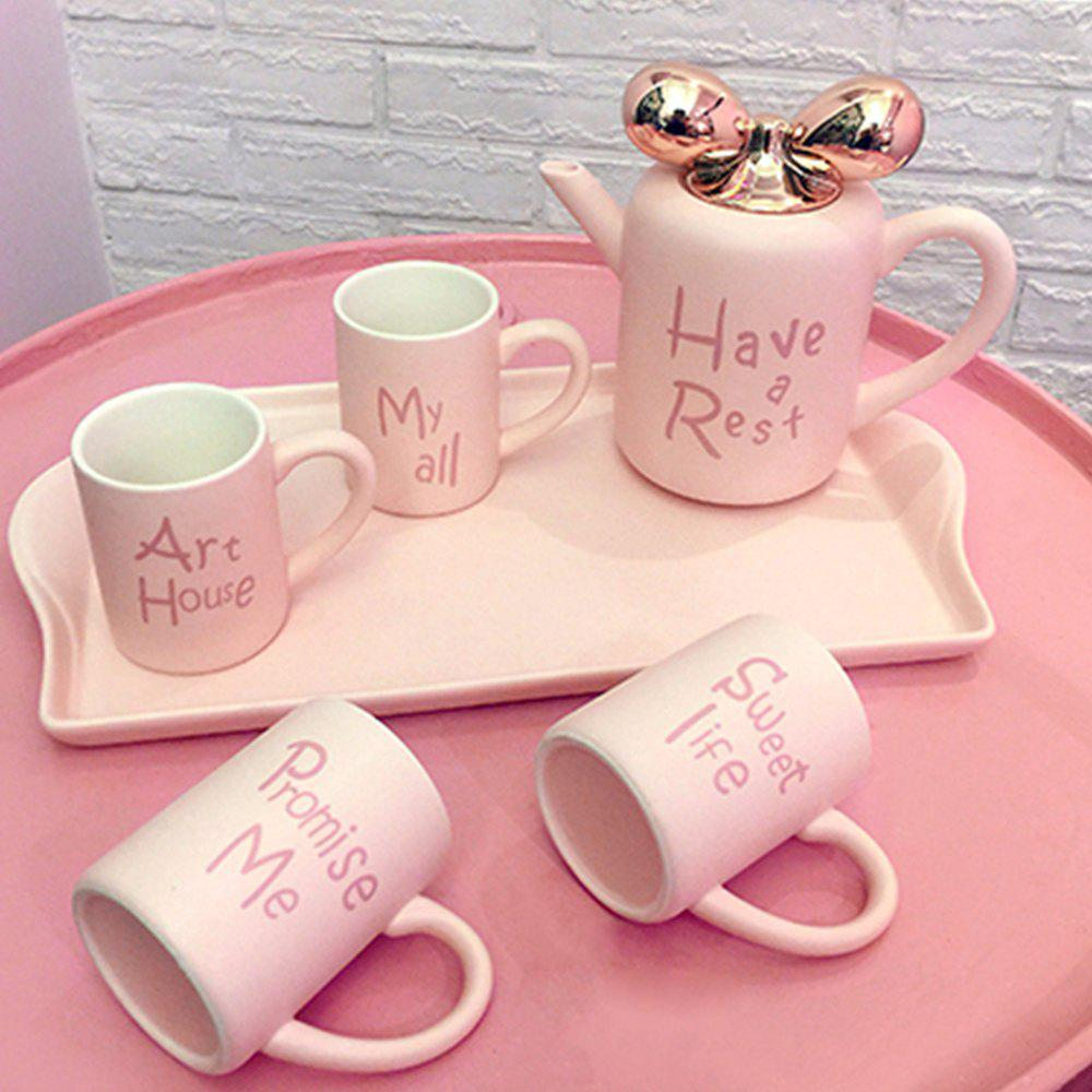 Creative Porcelain Tea Set Cartoon Ceramic Pot Teapot with Infuser Tea Mug Party Teatime Drinkware - PINK