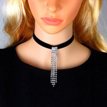 High Quality Popular Accessories Trendy Link Chain Rhinestone Pendant Necklaces for Fashion Women - BLACK