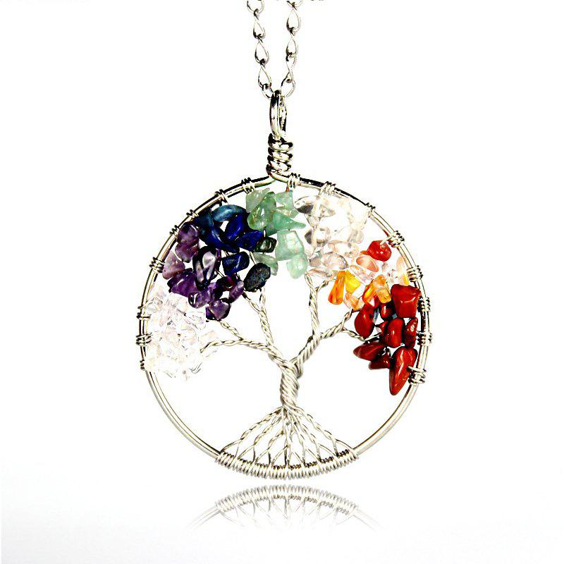 Фото Women Rainbow Chakra Tree Of Life Pendant Necklace Multicolor Wisdom Tree Natural Stone Necklace