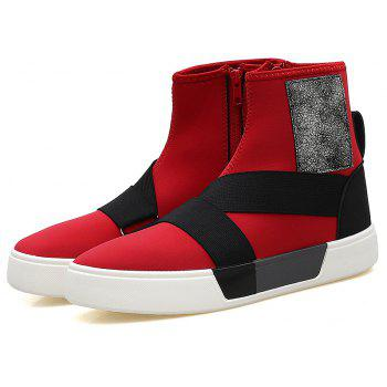 Chaussures en cuir Super Fiber Leather Men 's - Rouge 43