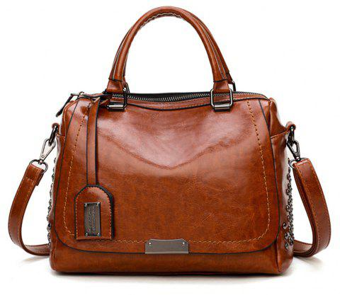 Boston Rivets Shoulder Inclined Shoulder Bag - BROWN