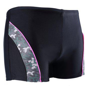 Daifansen Fashion Camouflage Arc Stitching Beach Boxer Trunks - BLACK L