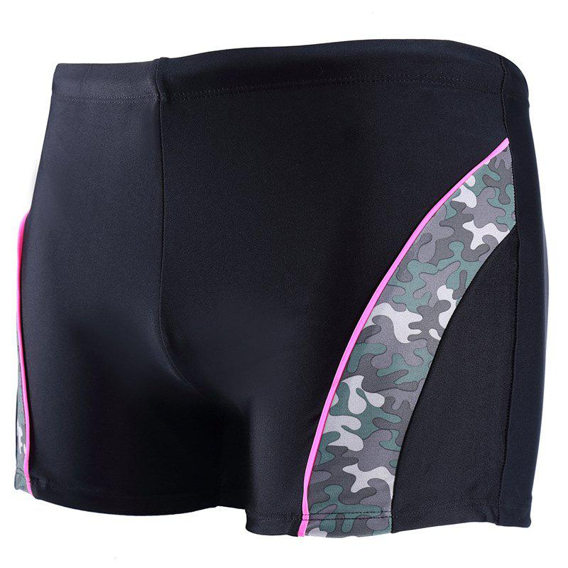 Daifansen Fashion Camouflage Arc Stitching Beach Boxer Trunks - BLACK S