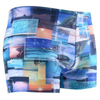Daifansen Waterproof Printing Speed Dry Men Boxer Shorts - BLUE M