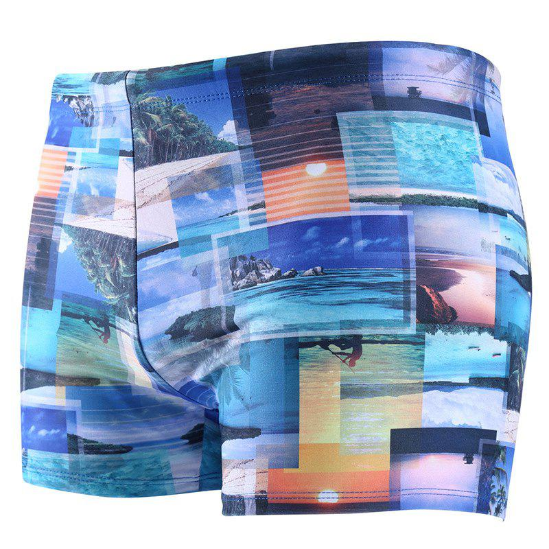 Daifansen Waterproof Printing Speed Dry Men Boxer Shorts - BLUE XL