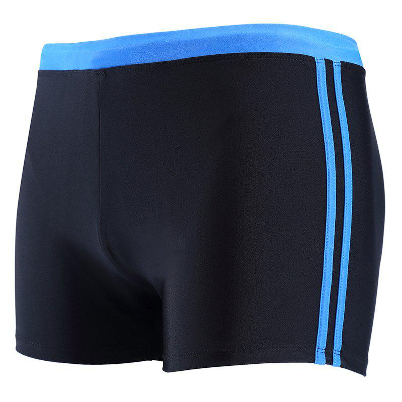 Daifansen The New Black Stripe Mosaic Leisure Quick Dry Beach Boxer Trunks - CERULEAN S