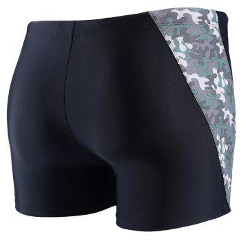 Daifansen A Quick Drying Black Camouflage Stitching Pool Straight Trunks - GRAY M