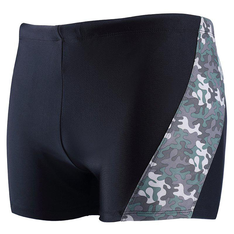 Daifansen A Quick Drying Black Camouflage Stitching Pool Straight Trunks - GRAY S