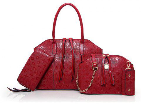 Europe and The United States Fashion Handbags Four Portable Shoulder Diagonal Bag - WINE RED