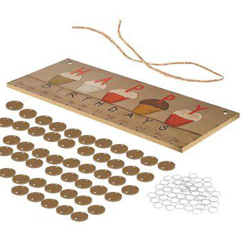 Wood Happy Calendar Cards for Creative Wood Crafts Home Decoration 1 Set - WOOD