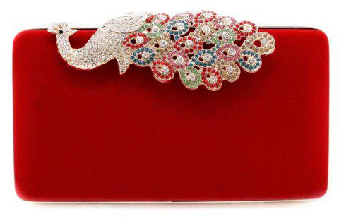 Women Bags Women Evening Clutch Bags Velvet Diamond Ring Handbags Small Round Clutch Bag Day Party Clutches Purses - RED