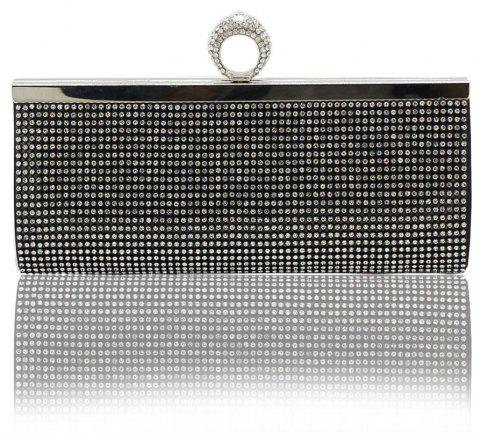 Finger Rings Clutch Bags Luxury Diamond Evening Bag Gold Silver Women Crystal Clutches Wedding Party Purse Chain Handbag - BLACK