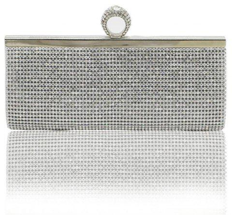 Finger Rings Clutch Bags Luxury Diamond Evening Bag Gold Silver Women Crystal Clutches Wedding Party Purse Chain Handbag - SILVER
