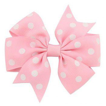 Dotted Ribbed Bow Tie Hairpin - PINK