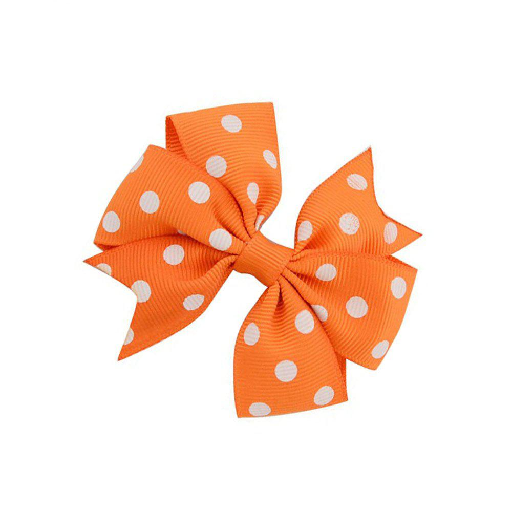 Dotted Ribbed Bow Tie Hairpin - ORANGE