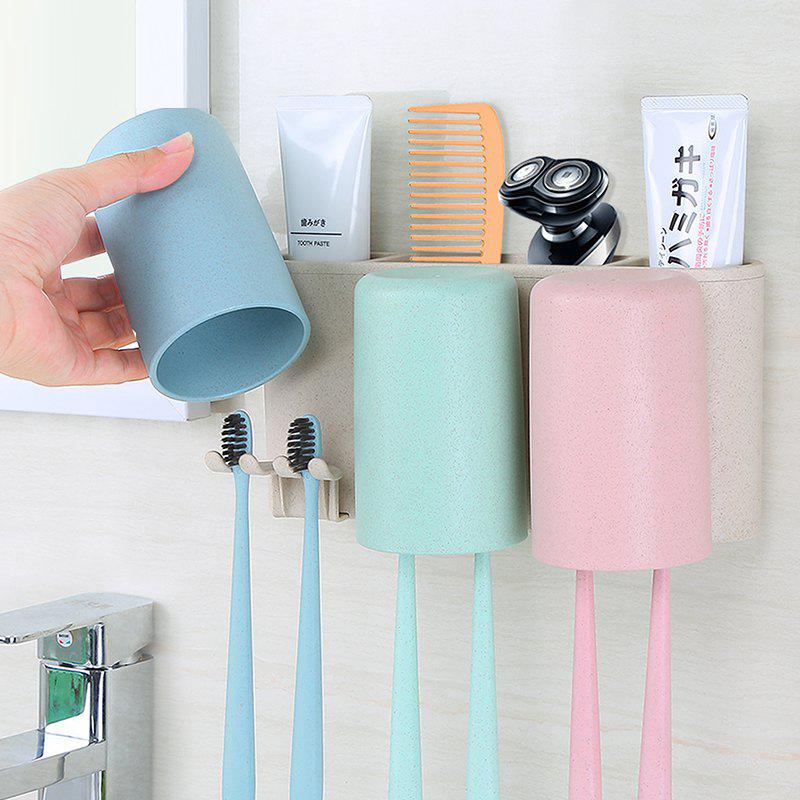 Natural Wheat Toothbrush Holder Strong Traceless Wash Wash Suit - multicolor A