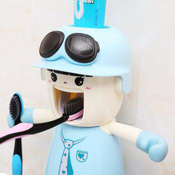 Creative Cartoon Toothbrush Holder Mouthwash Automatic Toothpaste Package - WINDSOR BLUE 20X17X9CM