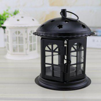 Creative European-style Small Five-star Iron Wrought Iron Candlestick - BLACK 13*11*11CM