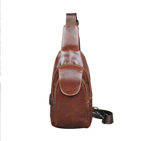 Vintage Unbalance Backpack Crazy Horse Leather Sling Bag Chest Pack Sports Small Crossbody Bag - BROWN