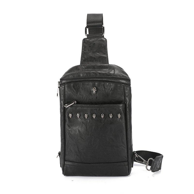 Fashion Chest Pack Rivet Crossbody Bag Rivet Unbalance Backpack Leather Sling Bag - BLACK