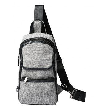 Gray Canvas Chest Pack Fashion Unbalance Backpack