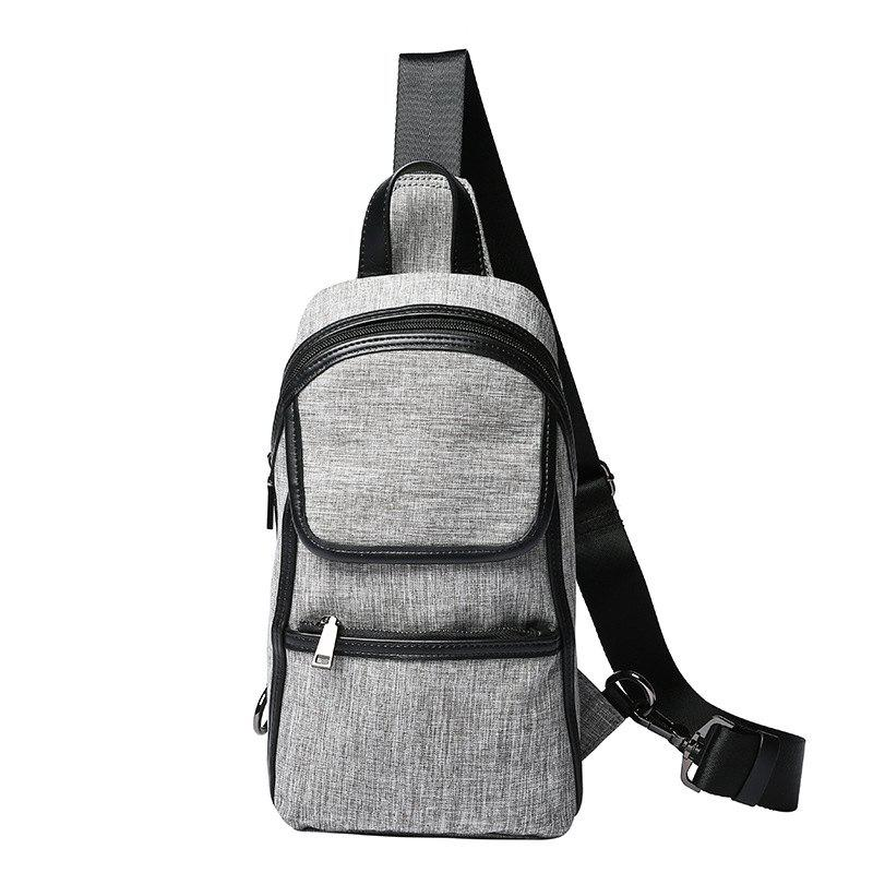 Gray Canvas Chest Pack Fashion Unbalance Backpack Crossbody Bag Cycling Sling Bag - GRAY