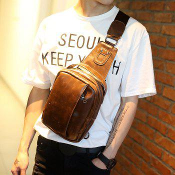 Men's Chest Pack Korean Waist Bag Unbalance Backpack Leather Sling Bag - MOCHA