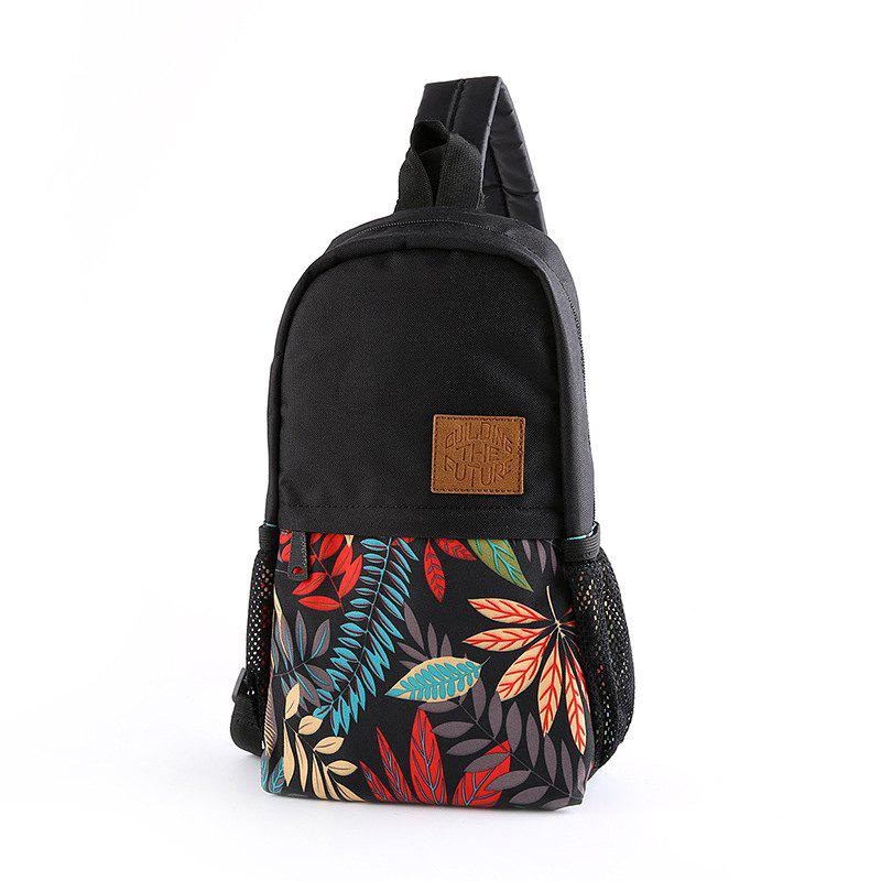 Printing Unisex Canvas Unbalance Backpack Korean Chest Pack For iPad Small Sling Bag - BLACK