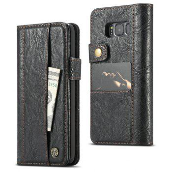 CaseMe For Samsung Galaxy S8 Case Flip Folio PU Leather Wallet with 4 ID Credit Card Pockets - BLACK
