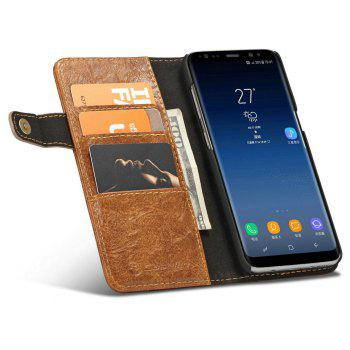 CaseMe For Samsung Galaxy S8 Case Flip Folio PU Leather Wallet with 4 ID Credit Card Pockets - BROWN