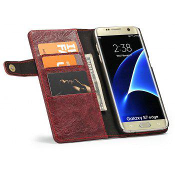 CaseMe for Samsung Galaxy S7 Edge Case Multifunction Leather Wallet with 4 ID Card Slots and PC Hard Back Cover - RED